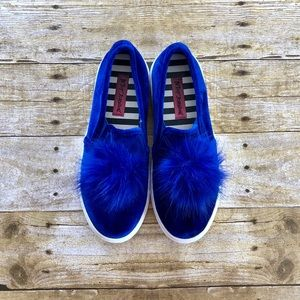 Betsey Johnson Zappp Blue Fluffy Pom Pom Sneakers